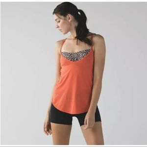 Lululemon Roll Out Tank Coral/ Animal Print Top